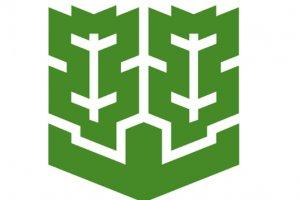 Simbol resmi Matsuyama yang menunjukkan pohon pinus dan pegunungan