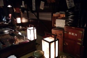 Lanterns and an old wooden refrigerator