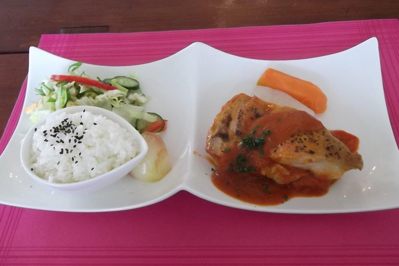 Makanan utama saya : Ayam, nasi, sayuran, dan salad