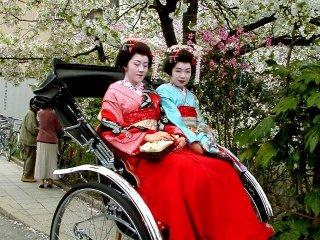 Две майко сидят в рикше, недалеко от Философского Пути