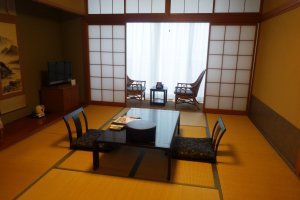 The spacious Japanese-style rooms at the resort