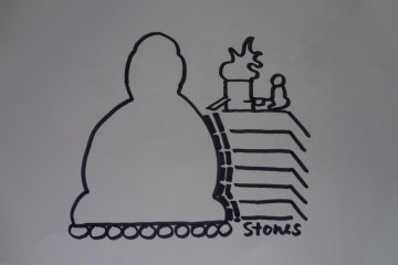 <p>Figure 3. After casting the first level (the base below that is made of stone) they piled soil around and above it so that the next layer could be poured in from above. This process was repeated each time all the way up to the head of Daibutsu</p>