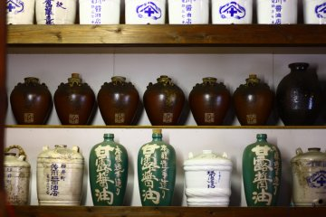 <p>Ceramic bottles at the Sagawa soy sauce factory</p>