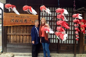 <p>With Masae-san, outside her shop.</p>