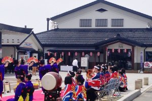 Folding fans, a symbol of nobility, used gracefully at this dance near Kakunodate Railway Station.