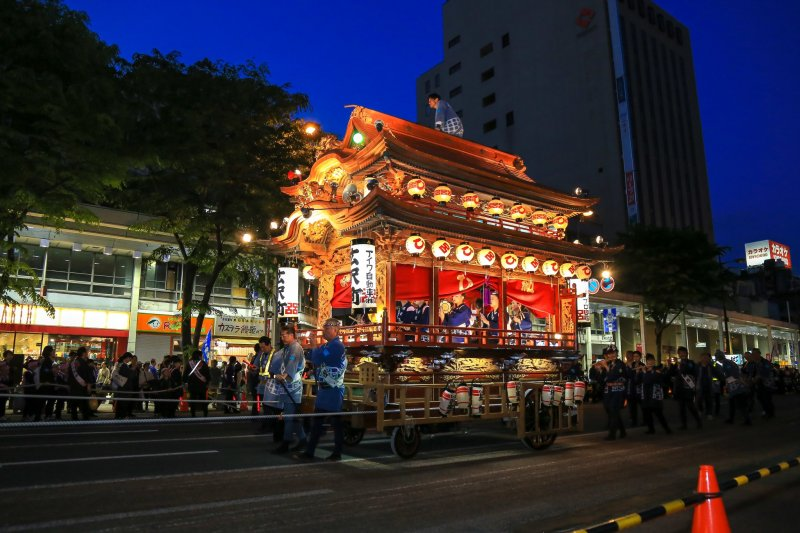 Lantern floating parade in the night of Hamamatsu