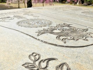 A beautiful 8 foot (2.4 meter) long memorial footprint of the Buddha, the largest in Japan.