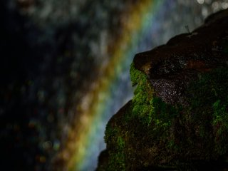 You may see a rainbow in front of the waterfall