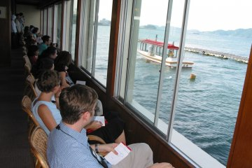 <p>Visitors watching the Ama diving display</p>