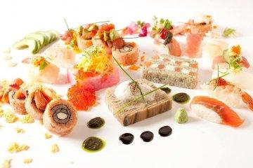 <p>Sushine (sushi + terrine), sushi rolls, nigiri sushi</p>