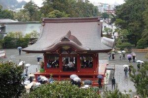 มีผู้คนยืนกลางร่ม ชมพิธีแต่งงานแบบชินโตกันอย่างหนาแน่น