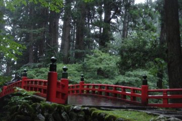 "Red-lacquered ""God's Bridge"", or Shinkyo in Japanese. Cross this bridge and you are in the sacred precinct of Mount Haguro."