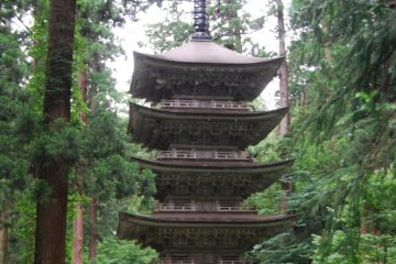 Famous Five-Story Pagoda at the bottom of the stone stairs.