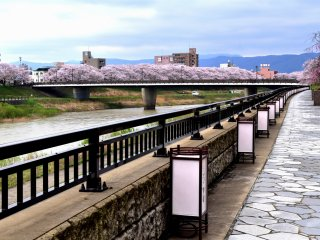 Lanternas tradicionais em papel dispostas ao longo do pavimento em pedra do passeio do rio Asuwa