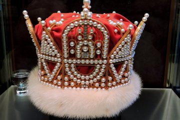 <p>One of two magnificent crowns featuring pearls</p>