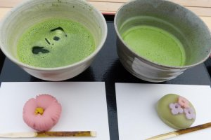 中島の御茶屋でいただくお抹茶と和菓子