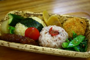 The onigiri set is a good option if you're looking for something light.