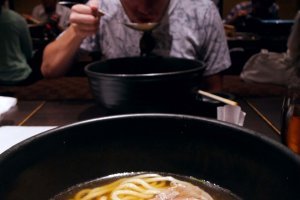 The Shabu Shabu Udon at one of their communal tables in the back area of the restaurant