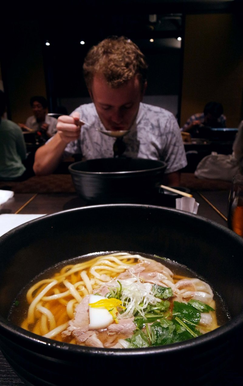 <p>The Shabu&nbsp;Shabu Udon&nbsp;at one of their communal tables in the back area of the restaurant</p>
