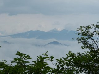 Beautiful mountain range surrounded by fog