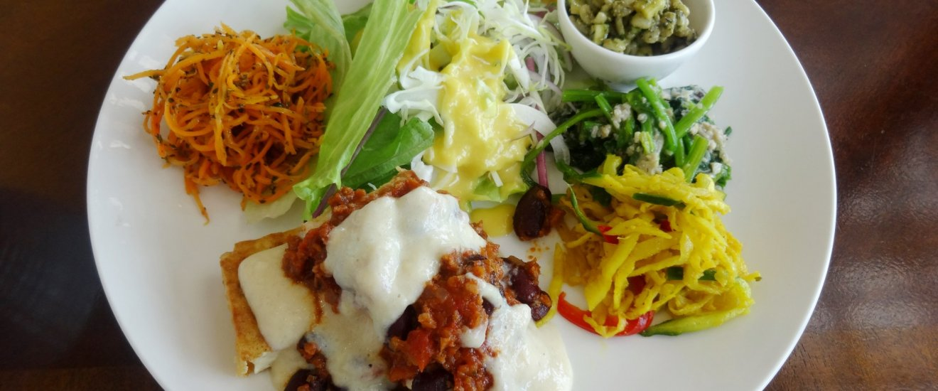The daily lunch plate includes a variety of vegetable-based specialties