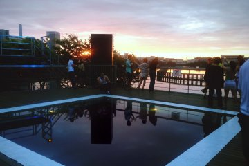 The sunrise out by the pool right as the club was closing