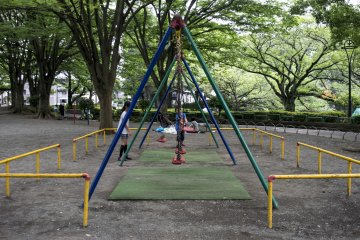 <p>Children playing at one of many swing sets and playgrounds in the park.</p>