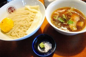 Mazesoba. On the left is noodles in Kombu-sui, on theright is the dipping soup,with salt and wasabi seasoning