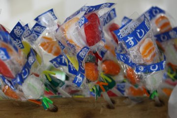 <p>Sushi candies on a stick</p>