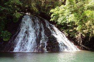 山にしみこんだ雨水が地下水となり岩肌の間から小さな滝となって流れ落ちる。