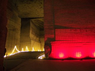 The quarry is sometimes illuminated by creative lighting.