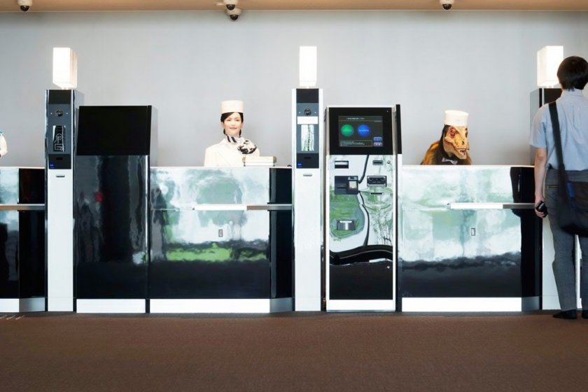 The front desk, where three friendly robots (including a dinosaur!) will greet you
