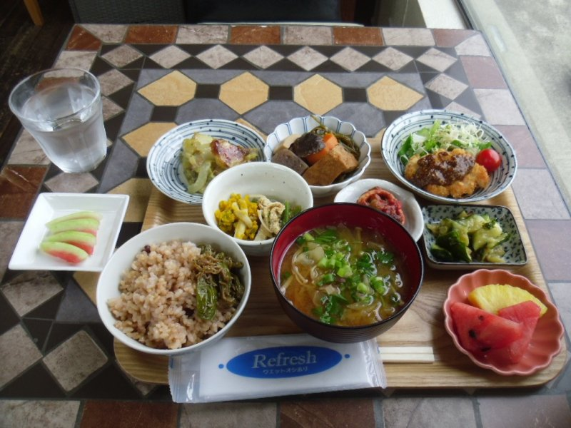 <p>The lunch set, with its wonderful variety</p>