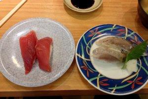 Maguro and (too salty for me) aburi shio saba
