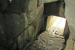 Looking down into the Ishibutai's burial chamber
