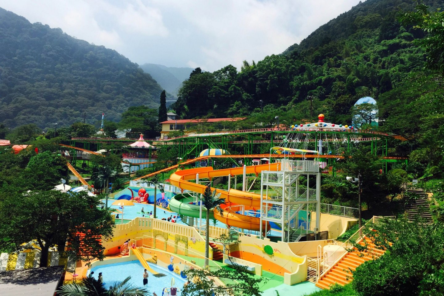 A view of the water park activity on this hot day.