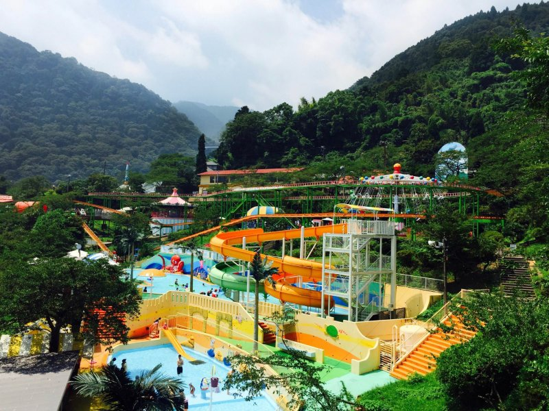 <p>A view of the water park activity on this hot day.</p>