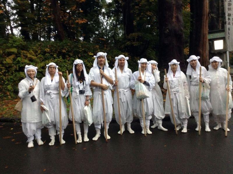 <p>Yamagata tourists on a pilgrimage at Dewa Sanzan</p>