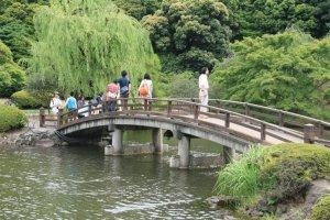 Bridge over the popular Japanese pond