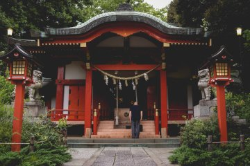 <p>Praying at Kumano Shrine&nbsp;</p>
