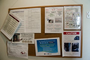 Bulletin board for nearby Halal restaurants and shops