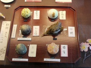 Several kinds of Japanese sweets. All of which are made along the theme of spring.