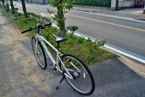Le vélo que j'ai loué pour la journée à Mukaishima