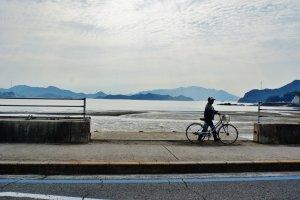 Un monsieur et son vélo sur le bord de route