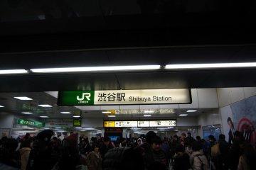 <p>ป้ายชื่อสถานี ชิบูย่า ตรงทางออกฝั่งที่ฮาจิโกะจ้องมอง</p>