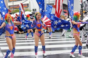 Some of the Robot restaurant dancers were wearing American flag colors and actual flags on their backs.