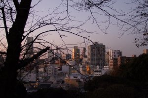 View of the Minato Mirai area from the cemetery at sunset.