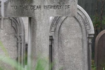It is always possible to stroll around the perimeter of the cemetery and peek in over the low black fence surrounding it.  In some locations, the graves are close enough so that you can read the inscriptions on the stones.