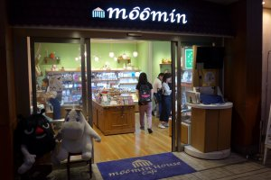 Enter the Moomin Cafe through its merchandise store