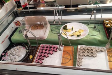 <p>The dessert buffet, with rotating desserts. They also have ice cream, popcorn and a chocolate fountain</p>